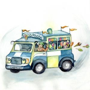 Glasspolisbil - samarbete med en författare